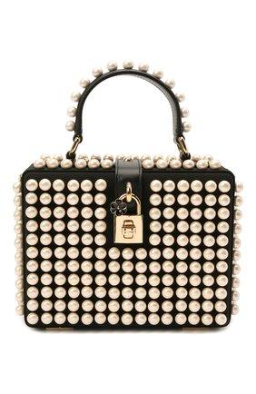 Женская сумка dolce box DOLCE & GABBANA черно-белого цвета, арт. BB5970/AQ683 | Фото 1 (Размер: mini; Ремень/цепочка: На ремешке; Материал: Текстиль; Сумки-технические: Сумки через плечо, Сумки top-handle)