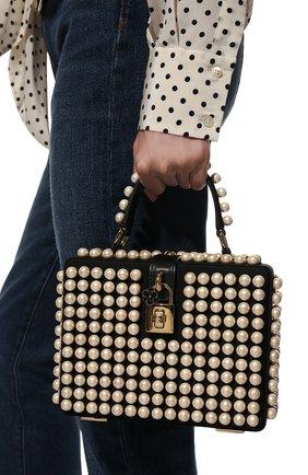Женская сумка dolce box DOLCE & GABBANA черно-белого цвета, арт. BB5970/AQ683 | Фото 2 (Размер: mini; Ремень/цепочка: На ремешке; Материал: Текстиль; Сумки-технические: Сумки через плечо, Сумки top-handle)