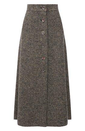 Женская юбка из шерсти и шелка CHLOÉ темно-серого цвета, арт. CHC21WJU14165   Фото 1 (Материал подклада: Шелк; Материал внешний: Шерсть, Шелк; Длина Ж (юбки, платья, шорты): Миди; Женское Кросс-КТ: Юбка-одежда; Стили: Кэжуэл)
