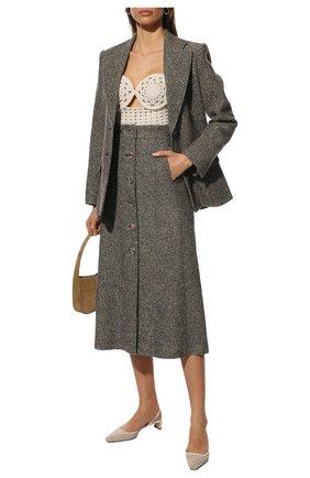 Женская юбка из шерсти и шелка CHLOÉ темно-серого цвета, арт. CHC21WJU14165   Фото 2 (Материал подклада: Шелк; Материал внешний: Шерсть, Шелк; Длина Ж (юбки, платья, шорты): Миди; Женское Кросс-КТ: Юбка-одежда; Стили: Кэжуэл)