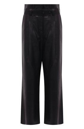 Женские кожаные брюки AERON темно-синего цвета, арт. P172_381   Фото 1 (Длина (брюки, джинсы): Стандартные; Материал подклада: Синтетический материал; Женское Кросс-КТ: Джоггеры - брюки, Кожаные брюки; Силуэт Ж (брюки и джинсы): Широкие; Стили: Гранж)