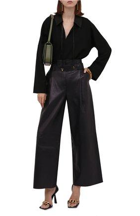 Женские кожаные брюки AERON темно-синего цвета, арт. P172_381   Фото 2 (Длина (брюки, джинсы): Стандартные; Материал подклада: Синтетический материал; Женское Кросс-КТ: Джоггеры - брюки, Кожаные брюки; Силуэт Ж (брюки и джинсы): Широкие; Стили: Гранж)