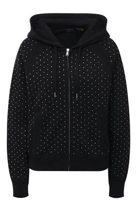 Женский хлопковый кардиган с отделкой стразами POLO RALPH LAUREN черного цвета, арт. 211846860 | Фото 1 (Длина (для топов): Стандартные; Материал внешний: Хлопок; Рукава: Длинные; Женское Кросс-КТ: Кардиган-одежда; Стили: Спорт-шик)