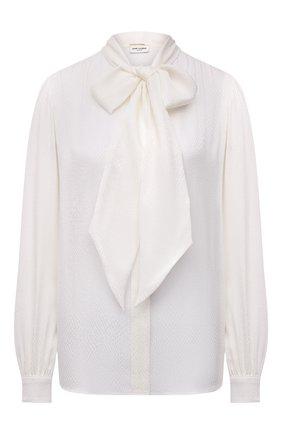 Женская шелковая блузка SAINT LAURENT молочного цвета, арт. 669023/Y6D34 | Фото 1 (Рукава: Длинные; Материал внешний: Шелк; Длина (для топов): Стандартные; Женское Кросс-КТ: Блуза-одежда; Принт: Без принта; Стили: Романтичный)