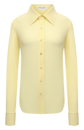 Женская шелковая рубашка SAINT LAURENT  цвета, арт. 663493/Y100W   Фото 1 (Материал внешний: Шелк; Женское Кросс-КТ: Рубашка-одежда; Принт: Без принта; Рукава: Длинные; Длина (для топов): Стандартные; Стили: Кэжуэл)