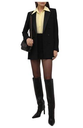 Женская шелковая рубашка SAINT LAURENT  цвета, арт. 663493/Y100W   Фото 2 (Материал внешний: Шелк; Женское Кросс-КТ: Рубашка-одежда; Принт: Без принта; Рукава: Длинные; Длина (для топов): Стандартные; Стили: Кэжуэл)