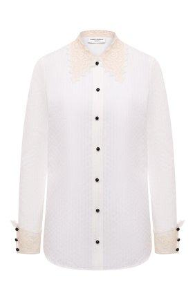Женская рубашка из хлопка и шелка SAINT LAURENT белого цвета, арт. 661141/Y3D31   Фото 1 (Длина (для топов): Стандартные; Материал внешний: Хлопок; Рукава: Длинные; Женское Кросс-КТ: Рубашка-одежда; Принт: Без принта; Стили: Кэжуэл)