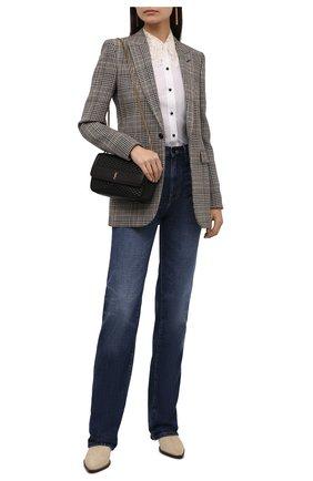 Женская рубашка из хлопка и шелка SAINT LAURENT белого цвета, арт. 661141/Y3D31   Фото 2 (Длина (для топов): Стандартные; Материал внешний: Хлопок; Рукава: Длинные; Женское Кросс-КТ: Рубашка-одежда; Принт: Без принта; Стили: Кэжуэл)