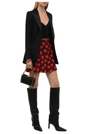 Женская юбка из вискозы SAINT LAURENT красного цвета, арт. 647997/Y3C91   Фото 2 (Материал подклада: Шелк; Материал внешний: Вискоза; Длина Ж (юбки, платья, шорты): Мини; Женское Кросс-КТ: Юбка-одежда; Стили: Романтичный)