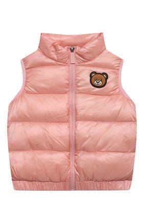 Детский пуховый жилет MOSCHINO розового цвета, арт. HMS02K/L3A32/4A-8A   Фото 1 (Материал внешний: Синтетический материал; Материал подклада: Синтетический материал; Рукава: Короткие; Материал утеплителя: Пух и перо; Девочки Кросс-КТ: Верхняя одежда)