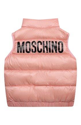 Детский пуховый жилет MOSCHINO розового цвета, арт. HMS02K/L3A32/4A-8A   Фото 2 (Материал внешний: Синтетический материал; Материал подклада: Синтетический материал; Рукава: Короткие; Материал утеплителя: Пух и перо; Девочки Кросс-КТ: Верхняя одежда)