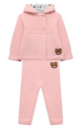 Детский комплект из кардигана и брюк MOSCHINO розового цвета, арт. MUK03C/LHE09   Фото 1 (Материал внешний: Хлопок, Синтетический материал; Рукава: Длинные)