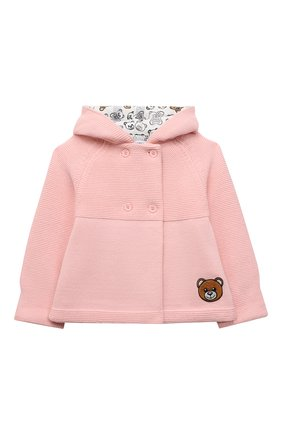 Детский комплект из кардигана и брюк MOSCHINO розового цвета, арт. MUK03C/LHE09   Фото 2 (Материал внешний: Хлопок, Синтетический материал; Рукава: Длинные)