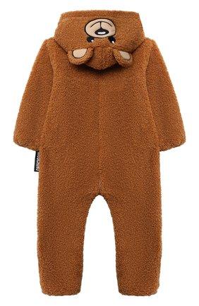 Детского комбинезон MOSCHINO коричневого цвета, арт. MUT027/LIA00   Фото 2 (Рукава: Длинные; Материал подклада: Хлопок; Материал внешний: Синтетический материал)