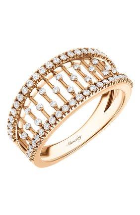 Женские кольцо MERCURY бесцветного цвета, арт. MR25458/RG/SM | Фото 1 (Драгоценные камни: Бриллианты; Материал сплава: Розовое золото)