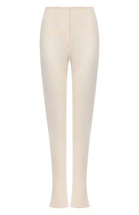 Женские брюки из вискозы и льна JACQUEMUS кремвого цвета, арт. 213PA001-1070   Фото 1 (Материал внешний: Вискоза; Женское Кросс-КТ: Брюки-одежда; Длина (брюки, джинсы): Удлиненные; Силуэт Ж (брюки и джинсы): Расклешенные; Стили: Кэжуэл)