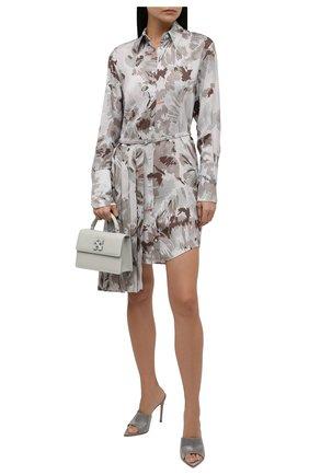 Женское платье из вискозы OFF-WHITE серого цвета, арт. 0WDB280F21FAB003 | Фото 2 (Длина Ж (юбки, платья, шорты): Мини; Материал внешний: Вискоза; Рукава: Длинные; Женское Кросс-КТ: Платье-одежда; Стили: Романтичный; Случай: Повседневный)