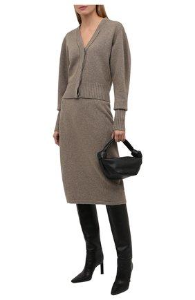 Женская юбка из шерсти и кашемира LOW CLASSIC бежевого цвета, арт. L0W21FW_KN05LK   Фото 2 (Материал внешний: Шерсть; Кросс-КТ: Трикотаж; Женское Кросс-КТ: Юбка-одежда; Длина Ж (юбки, платья, шорты): Миди; Стили: Кэжуэл)