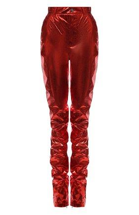 Женские брюки DOLCE & GABBANA красного цвета, арт. FTB9DT/GDAD3 | Фото 1 (Длина (брюки, джинсы): Удлиненные; Материал внешний: Синтетический материал; Женское Кросс-КТ: Брюки-одежда; Силуэт Ж (брюки и джинсы): Прямые; Стили: Гламурный)