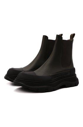 Женские кожаные ботинки tread slick ALEXANDER MCQUEEN хаки цвета, арт. 635714/WHZ61 | Фото 1 (Материал внутренний: Натуральная кожа; Женское Кросс-КТ: Челси-ботинки; Каблук высота: Низкий; Подошва: Платформа)