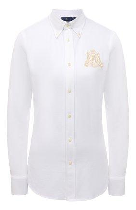 Женская хлопковая рубашка POLO RALPH LAUREN белого цвета, арт. 211846878 | Фото 1 (Длина (для топов): Удлиненные; Рукава: Длинные; Материал внешний: Хлопок; Женское Кросс-КТ: Рубашка-одежда; Принт: Без принта; Стили: Кэжуэл)
