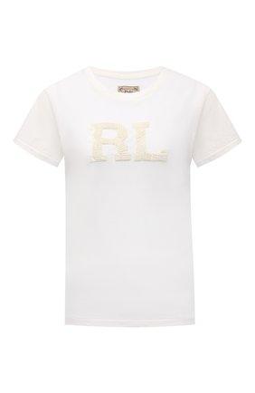 Женская хлопковая футболка POLO RALPH LAUREN кремвого цвета, арт. 211846880 | Фото 1 (Длина (для топов): Стандартные; Рукава: Короткие; Материал внешний: Хлопок; Женское Кросс-КТ: Футболка-одежда; Принт: С принтом; Стили: Спорт-шик)