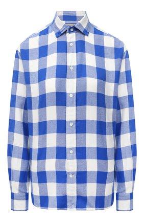 Женская хлопковая рубашка POLO RALPH LAUREN синего цвета, арт. 211846926 | Фото 1 (Рукава: Длинные; Длина (для топов): Удлиненные; Материал внешний: Хлопок; Женское Кросс-КТ: Рубашка-одежда; Принт: С принтом, Клетка; Стили: Кэжуэл)