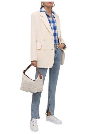 Женская хлопковая рубашка POLO RALPH LAUREN синего цвета, арт. 211846926 | Фото 2 (Рукава: Длинные; Длина (для топов): Удлиненные; Материал внешний: Хлопок; Женское Кросс-КТ: Рубашка-одежда; Принт: С принтом, Клетка; Стили: Кэжуэл)