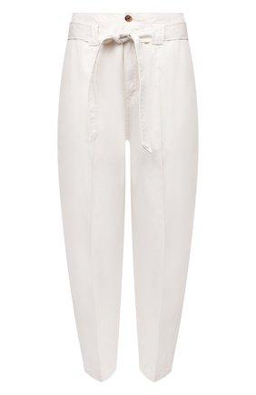 Женские хлопковые брюки POLO RALPH LAUREN кремвого цвета, арт. 211847145 | Фото 1 (Материал внешний: Хлопок; Длина (брюки, джинсы): Укороченные; Женское Кросс-КТ: Брюки-одежда; Силуэт Ж (брюки и джинсы): Джоггеры; Стили: Кэжуэл)