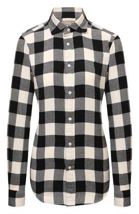 Женская хлопковая рубашка POLO RALPH LAUREN разноцветного цвета, арт. 211850401 | Фото 1 (Материал внешний: Хлопок; Рукава: Длинные; Длина (для топов): Стандартные; Женское Кросс-КТ: Рубашка-одежда; Принт: С принтом, Клетка; Стили: Кэжуэл)