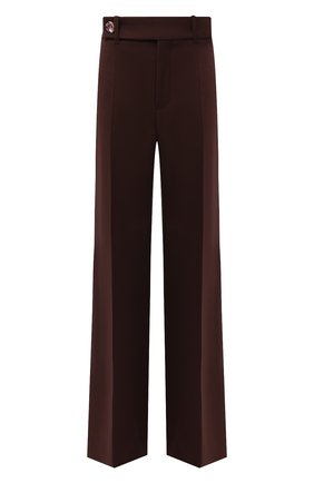 Женские брюки CHLOÉ фиолетового цвета, арт. CHC21WPA06068   Фото 1 (Материал внешний: Шерсть; Женское Кросс-КТ: Брюки-одежда; Длина (брюки, джинсы): Стандартные, Удлиненные; Силуэт Ж (брюки и джинсы): Широкие; Стили: Классический)