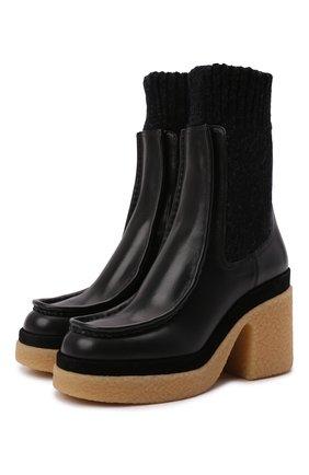 Женские кожаные ботильоны jamie CHLOÉ черного цвета, арт. CHC21W525V4   Фото 1 (Подошва: Платформа; Материал внутренний: Натуральная кожа; Каблук высота: Высокий; Каблук тип: Устойчивый)
