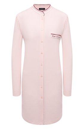 Женская сорочка EMPORIO ARMANI светло-розового цвета, арт. 164505/1A270   Фото 1 (Длина Ж (юбки, платья, шорты): Мини; Материал внешний: Синтетический материал; Рукава: Длинные)