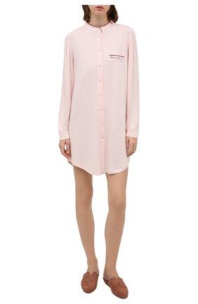 Женская сорочка EMPORIO ARMANI светло-розового цвета, арт. 164505/1A270   Фото 2 (Длина Ж (юбки, платья, шорты): Мини; Материал внешний: Синтетический материал; Рукава: Длинные)
