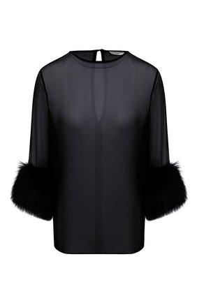 Женская шелковая блузка SAINT LAURENT черного цвета, арт. 677217/Y9D50   Фото 1 (Материал внешний: Шелк; Рукава: 3/4; Длина (для топов): Стандартные; Стили: Романтичный; Женское Кросс-КТ: Блуза-одежда; Принт: Без принта)