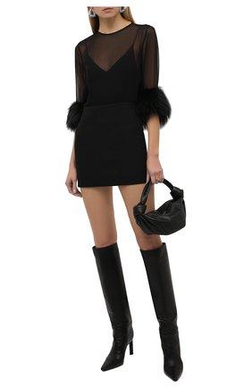 Женская шелковая блузка SAINT LAURENT черного цвета, арт. 677217/Y9D50   Фото 2 (Материал внешний: Шелк; Рукава: 3/4; Длина (для топов): Стандартные; Стили: Романтичный; Женское Кросс-КТ: Блуза-одежда; Принт: Без принта)