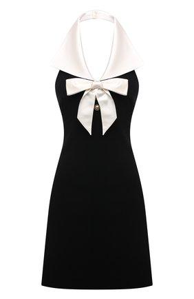 Женское шерстяное платье SAINT LAURENT черного цвета, арт. 676792/Y024K   Фото 1 (Длина Ж (юбки, платья, шорты): Мини; Материал подклада: Шелк; Материал внешний: Шерсть; Женское Кросс-КТ: Платье-одежда; Стили: Романтичный; Случай: Коктейльный)