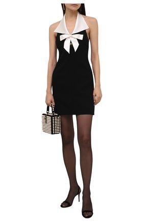 Женское шерстяное платье SAINT LAURENT черного цвета, арт. 676792/Y024K   Фото 2 (Длина Ж (юбки, платья, шорты): Мини; Материал подклада: Шелк; Материал внешний: Шерсть; Женское Кросс-КТ: Платье-одежда; Стили: Романтичный; Случай: Коктейльный)