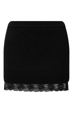 Женская шерстяная юбка SAINT LAURENT черного цвета, арт. 672223/Y3C82   Фото 1 (Материал подклада: Шелк; Материал внешний: Шерсть; Длина Ж (юбки, платья, шорты): Мини; Женское Кросс-КТ: Юбка-одежда; Стили: Гламурный)