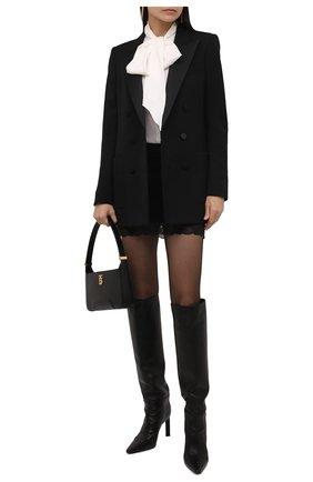Женская шерстяная юбка SAINT LAURENT черного цвета, арт. 672223/Y3C82   Фото 2 (Материал подклада: Шелк; Материал внешний: Шерсть; Длина Ж (юбки, платья, шорты): Мини; Женское Кросс-КТ: Юбка-одежда; Стили: Гламурный)