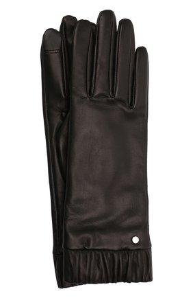 Женские кожаные перчатки BOSS черного цвета, арт. 50458018   Фото 1