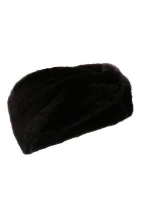 Женская повязка из меха норки KUSSENKOVV черного цвета, арт. 162800002016   Фото 1 (Материал: Натуральный мех)