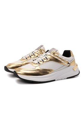 Женские кроссовки BOSS золотого цвета, арт. 50462652 | Фото 1 (Подошва: Платформа; Материал внешний: Текстиль)