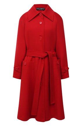 Женское шерстяное пальто DOLCE & GABBANA красного цвета, арт. F0AQ5T/FU22W | Фото 1 (Материал внешний: Шерсть; Длина (верхняя одежда): До колена; Рукава: Длинные; Стили: Гламурный; 1-2-бортные: Однобортные)