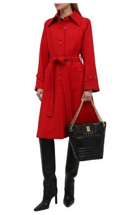 Женское шерстяное пальто DOLCE & GABBANA красного цвета, арт. F0AQ5T/FU22W | Фото 2 (Материал внешний: Шерсть; Длина (верхняя одежда): До колена; Рукава: Длинные; Стили: Гламурный; 1-2-бортные: Однобортные)