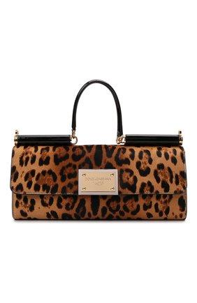 Женская сумка sicily DOLCE & GABBANA леопардового цвета, арт. BB7007/AQ291 | Фото 1 (Размер: large; Материал: Натуральная кожа; Сумки-технические: Сумки top-handle)