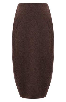 Женская юбка из шерсти и кашемира LOW CLASSIC коричневого цвета, арт. L0W21FW_KN06BR | Фото 1 (Длина Ж (юбки, платья, шорты): Миди; Материал внешний: Шерсть; Стили: Минимализм; Женское Кросс-КТ: Юбка-одежда; Кросс-КТ: Трикотаж)