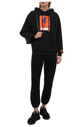 Женский хлопковое худи HERON PRESTON черного цвета, арт. HWBB020F21JER0061022 | Фото 2 (Материал внешний: Хлопок; Длина (для топов): Стандартные; Рукава: Длинные; Стили: Спорт-шик; Женское Кросс-КТ: Худи-одежда, Худи-спорт)