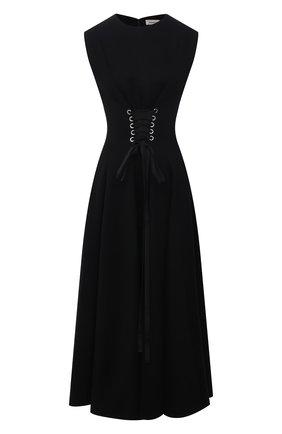 Женское платье ALEXANDER MCQUEEN черного цвета, арт. 679308/QLABN   Фото 1 (Длина Ж (юбки, платья, шорты): Миди; Материал внешний: Синтетический материал, Хлопок; Стили: Гламурный; Случай: Вечерний; Женское Кросс-КТ: Платье-одежда)