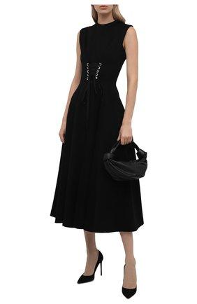 Женское платье ALEXANDER MCQUEEN черного цвета, арт. 679308/QLABN   Фото 2 (Длина Ж (юбки, платья, шорты): Миди; Материал внешний: Синтетический материал, Хлопок; Стили: Гламурный; Случай: Вечерний; Женское Кросс-КТ: Платье-одежда)